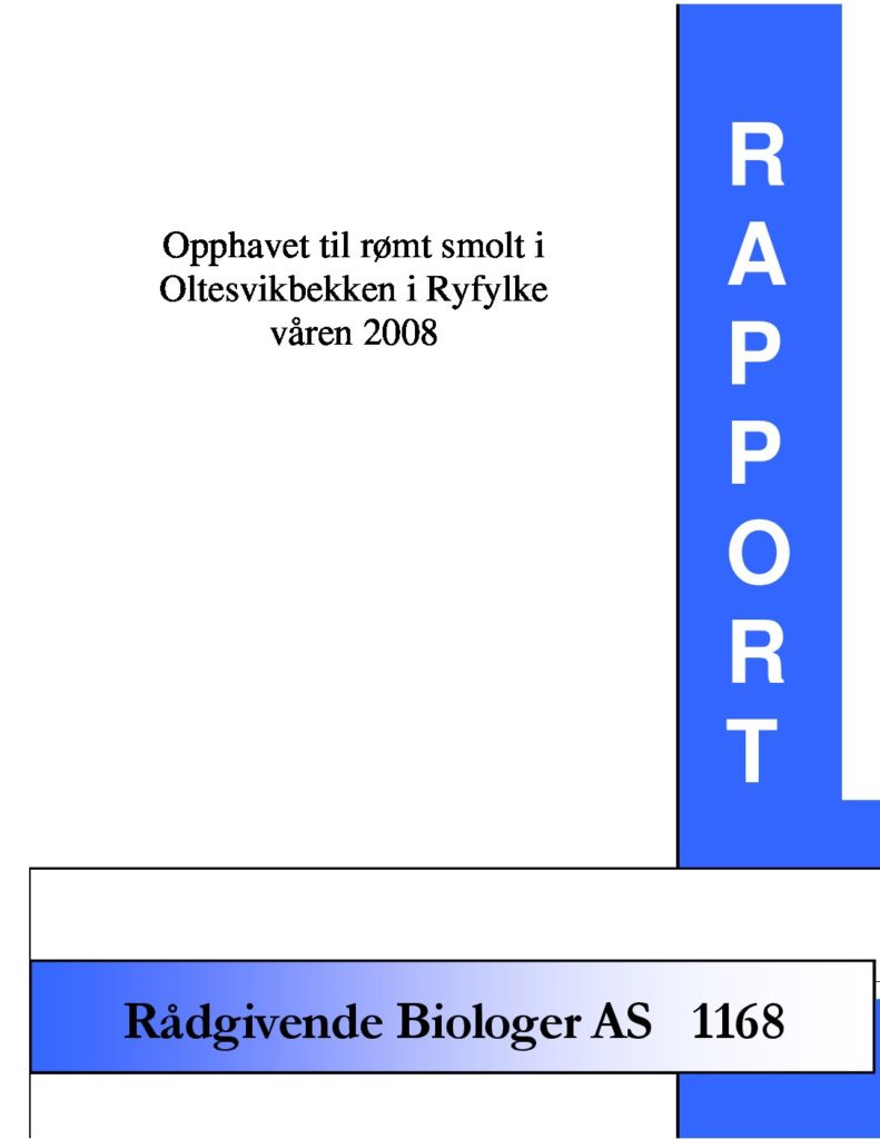 Rapport cover - rapport 1168