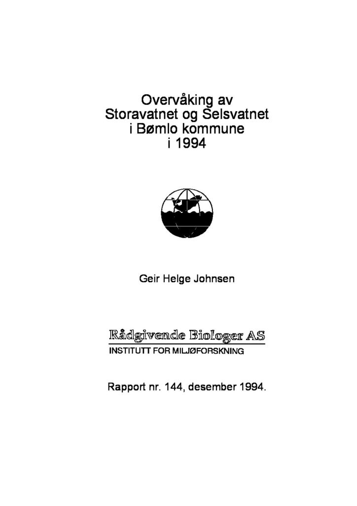 Rapport cover - rapport 144