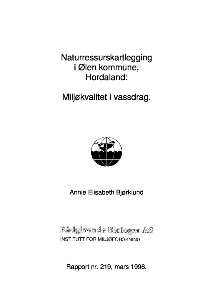 Rapport cover - rapport 219
