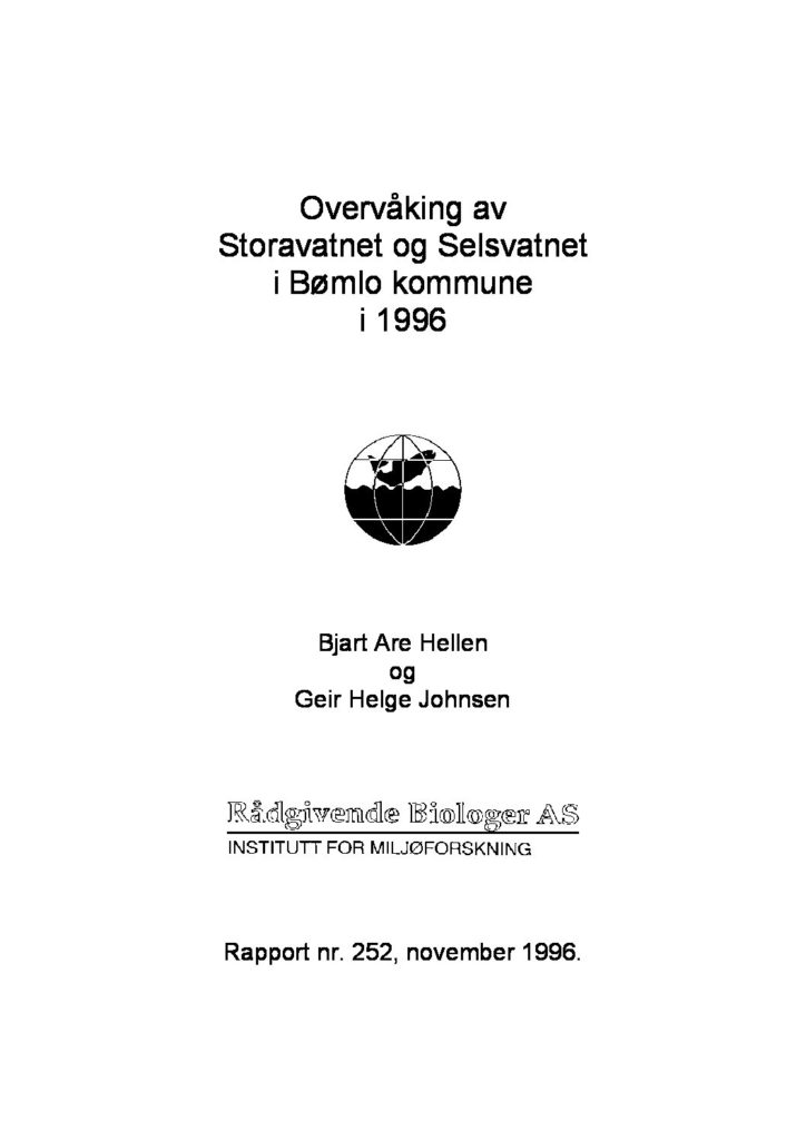 Rapport cover - rapport 252