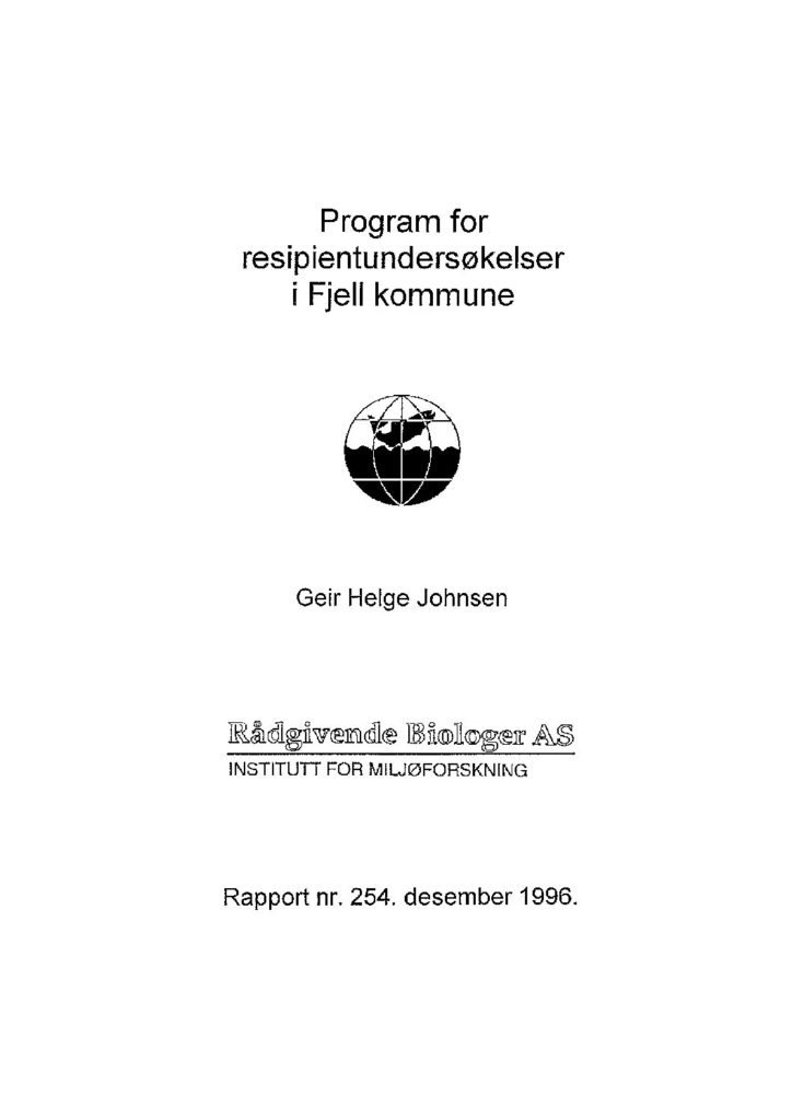 Rapport cover - rapport 254