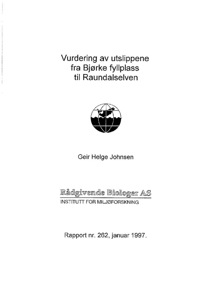 Rapport cover - rapport 262