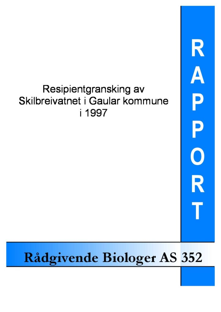 Rapport cover - rapport 352