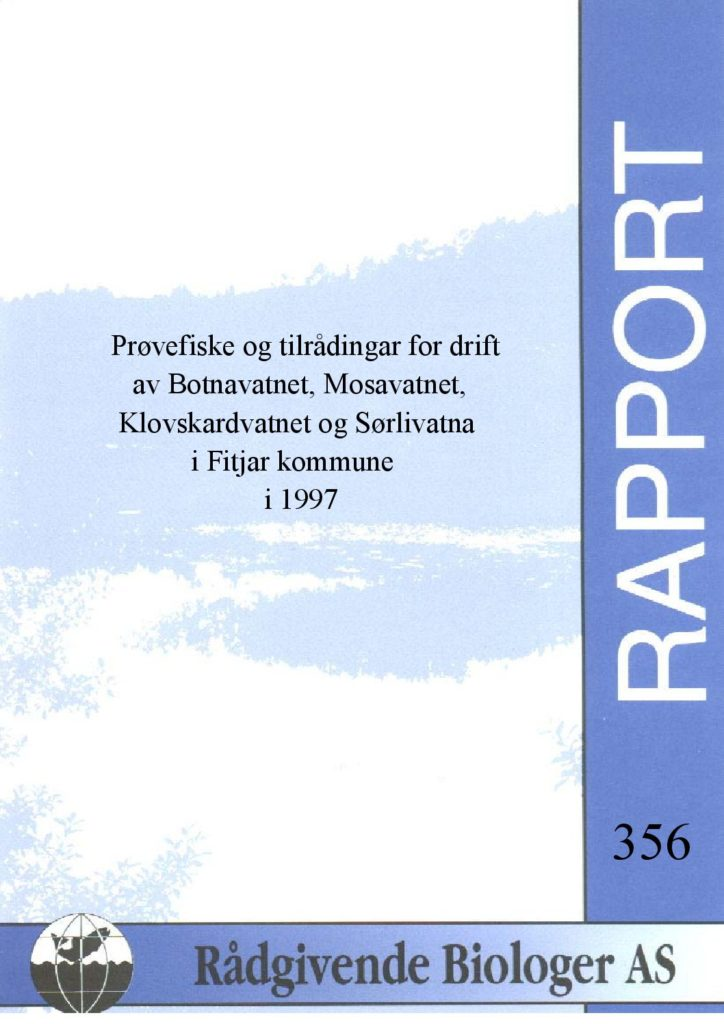Rapport cover - rapport 356