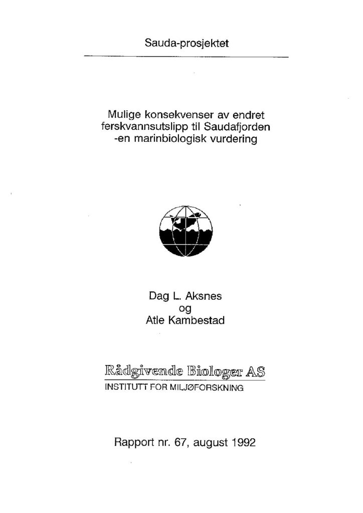 Rapport cover - rapport 67