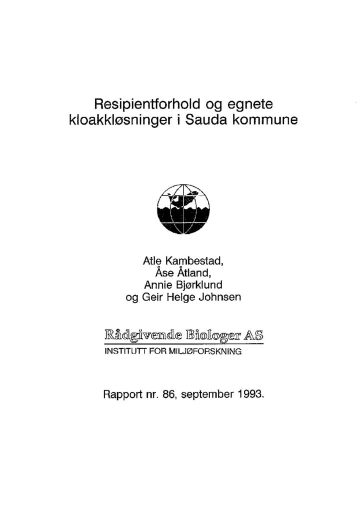 Rapport cover - rapport 86