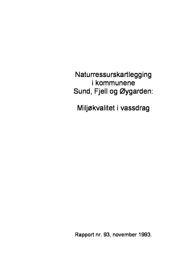 Rapport cover - rapport 93