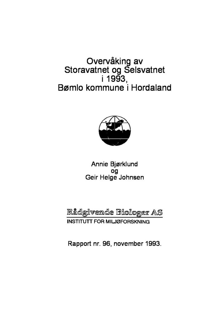 Rapport cover - rapport 96