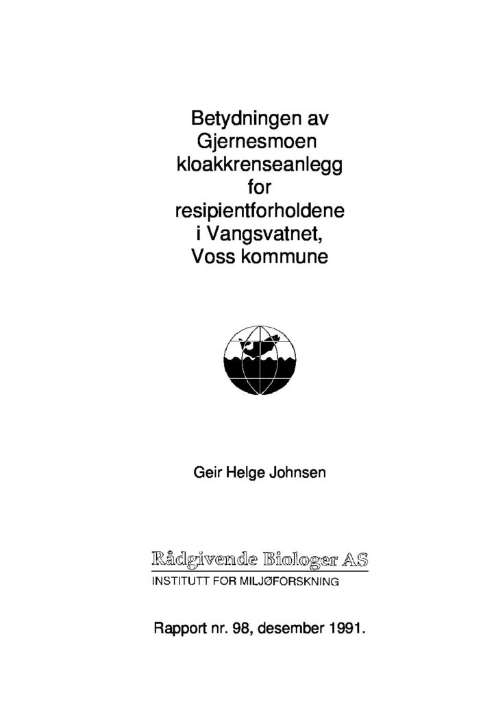 Rapport cover - rapport 98
